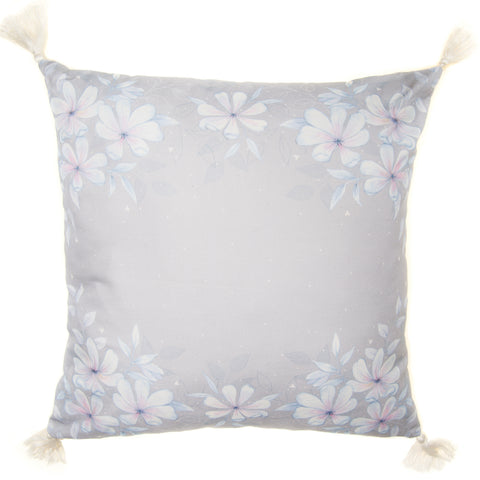 Large Grey Floral Cushion