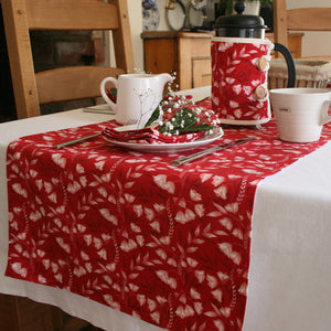 Ruby Red Floral Damask Table Runner