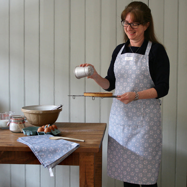 Grey and White Ditsy Floral Apron