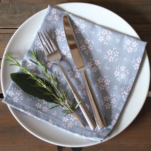 Grey Ditsy Floral Napkins - Set of 2