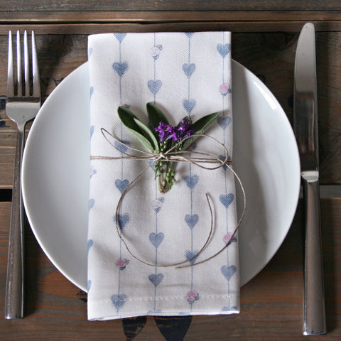 Grey Hearts and Roses Napkins - Set of 2