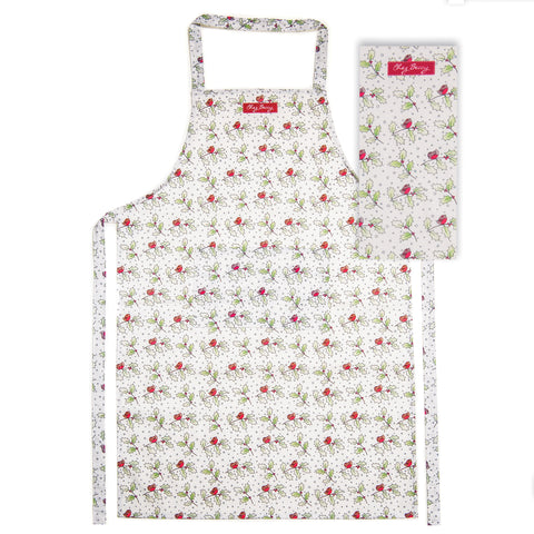 Christmas Robins and Holly Apron and Tea Towel Set