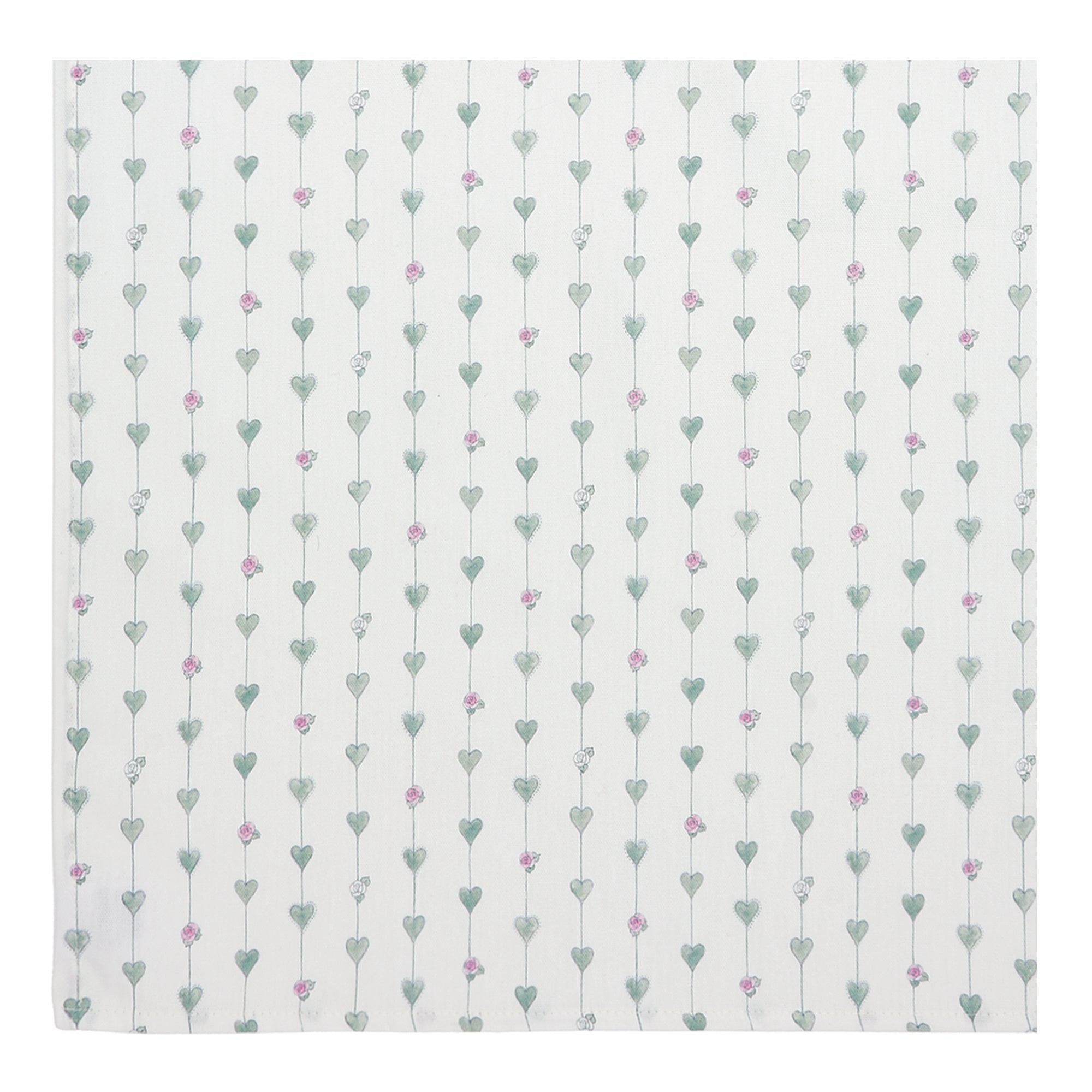 Sage Green Hearts & Roses Napkins - Set of 2
