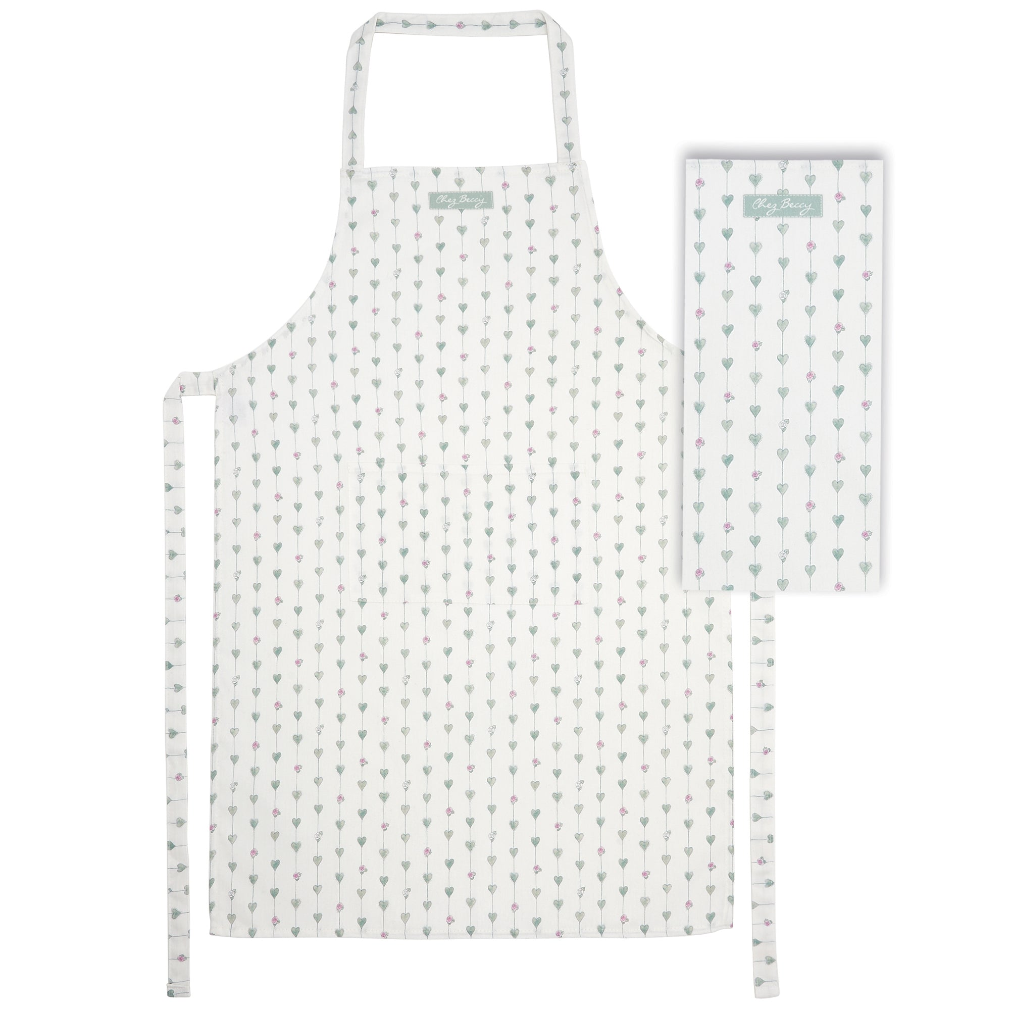 Sage Green Hearts and Roses Apron and Tea Towel Set