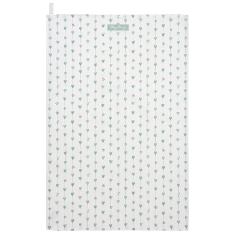 Sage Green Hearts & Roses Tea Towel