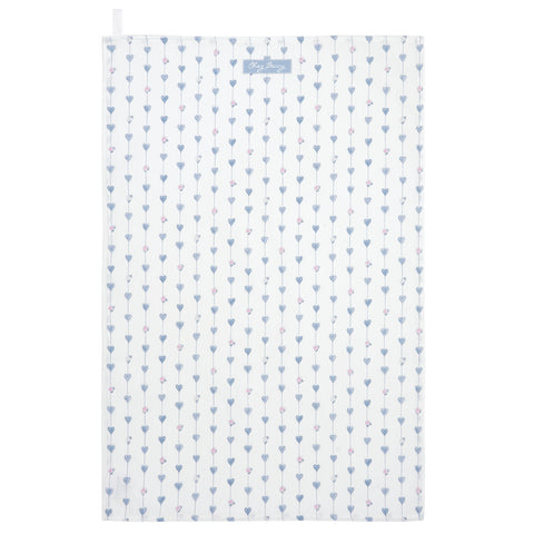 Grey Heart & Roses Tea Towel
