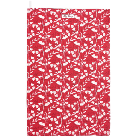 Red Floral Tea Towel