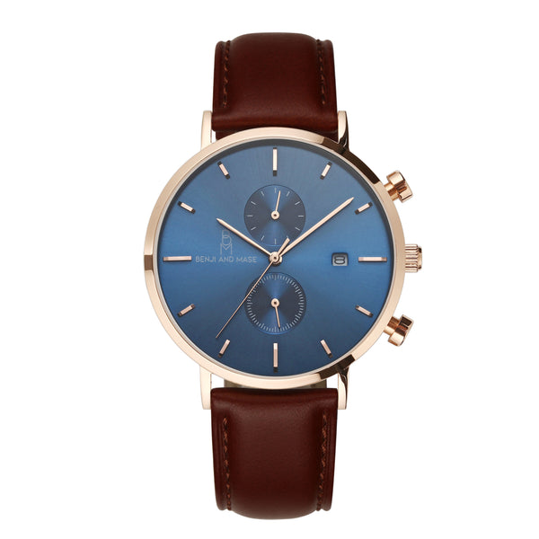 "Rose gold/Blue ""Brown Leather"""