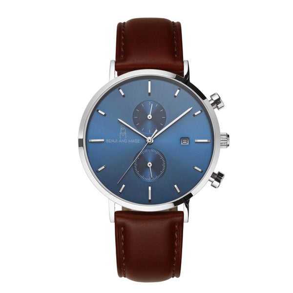"Silver/Blue ""Brown Leather"""