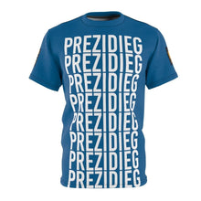 "Load image into Gallery viewer, ""Prezidieg all over"" - River Blue - Cut & Sew Tee"
