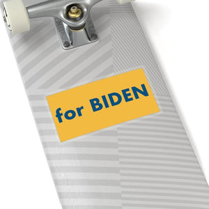 """for Biden"" add-on Stickers - River Blue on Heartland Yellow background"