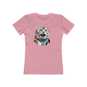 Happy Excited Cat - #TeamPete - Women's The Boyfriend Tee