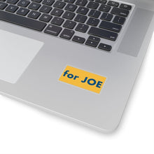 "Load image into Gallery viewer, ""for JOE"" add-on Stickers - River Blue on Heartland Yellow background"