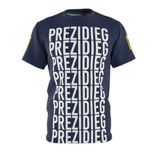 "Load image into Gallery viewer, ""Prezidieg all over"" - Strato Blue - Cut & Sew Tee"