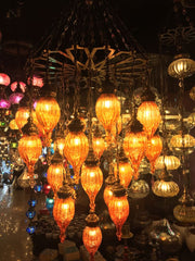 OTTOMAN BLOWN GLASS CHANDELIER, 25 LAMPS, ORANGE