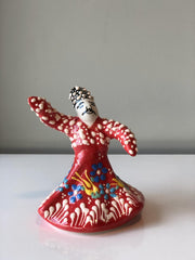 WHIRLING DERVISH CERAMIC FIGURE, RED