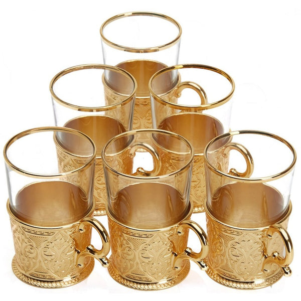TRADITIONAL TURKISH TEA CUP SET FOR SIX