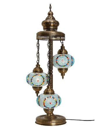 TURKISH MOSAIC FLOOR LAMP, 3 LARGE GLOBES, BLUE 002