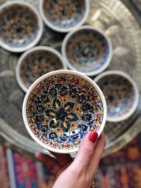 "6x LARGE TURKISH CERAMIC BOWL SET OF SIX, 10 cm (3.9""), MULTI 009"