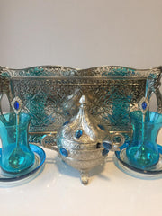 TURKISH TEA SET FOR TWO, BLUE