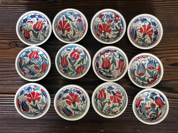 12x TURKISH CERAMIC BOWL SET OF TWELVE, 5 cm, MEZE BOWLS, IZNIK