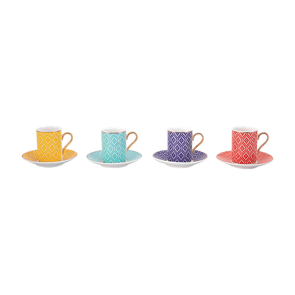4x PORCELAIN TURKISH COFFEE SET OF SIX, 003