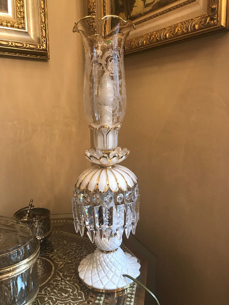 HANDMADE CRYSTAL TABLE LAMP, EXCLUSIVE PALACE STYLE, WHITE