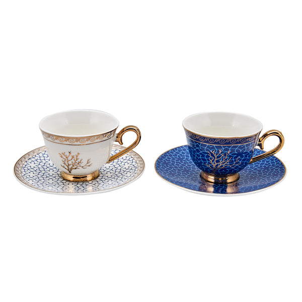 2x ISTANBUL TURKISH PORCELAIN COFFEE SET FOR TWO, CORAL