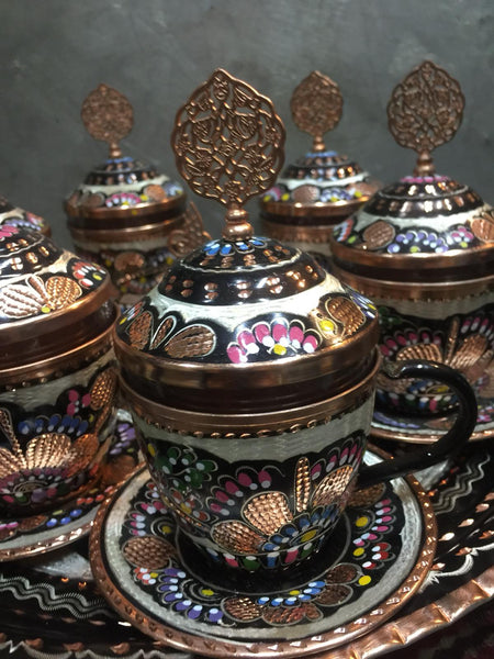 EXCLUSIVE TURKISH / ARABIC COFFEE SET FOR SIX, COPPER