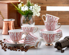 6x PORCELAIN TURKISH COFFEE SET OF SIX, PINK AND GOLD