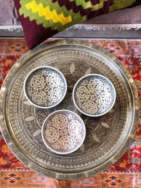 "TURKISH CERAMIC BOWL SET OF THREE , 15 cm (5.9""), 007"