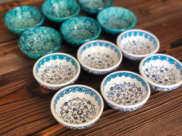 12x TURKISH CERAMIC BOWL SET OF TWELVE, 5 cm, MEZE BOWLS, MULTI 0013