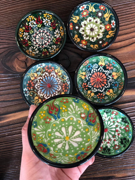 "TURKISH CERAMIC BOWL SET OF SIX, 5 cm (1.9"")"