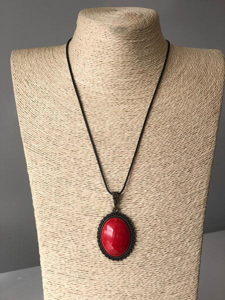 HANDMADE TURKISH CERAMIC NECKLACE, RED