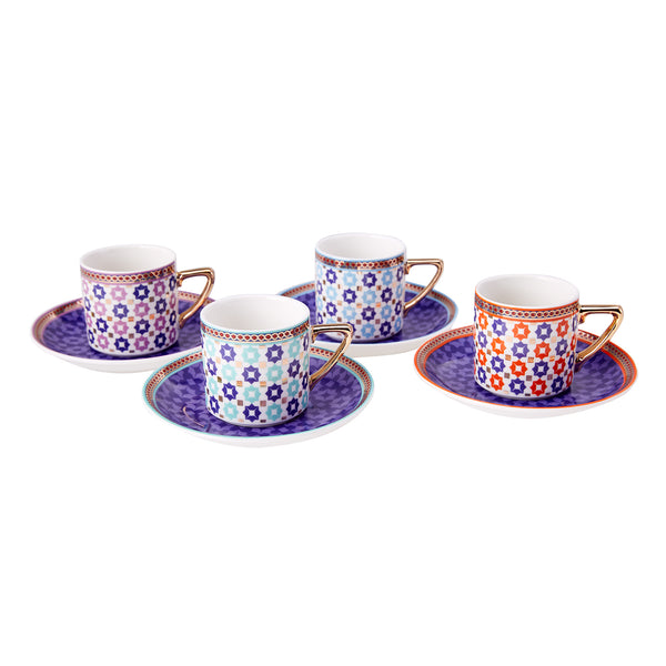 TILE INSPIRED TURKISH COFFEE SET OF FOUR