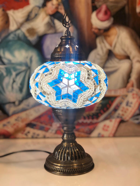 LARGE MOSAIC TABLE LAMP, BLUE AND WHITE, 090