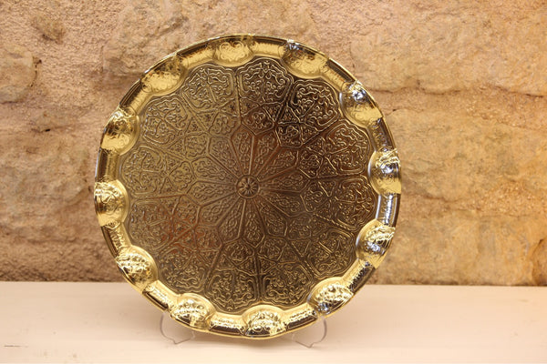 TURKISH ZAMAC TRAY, GOLD COLOR