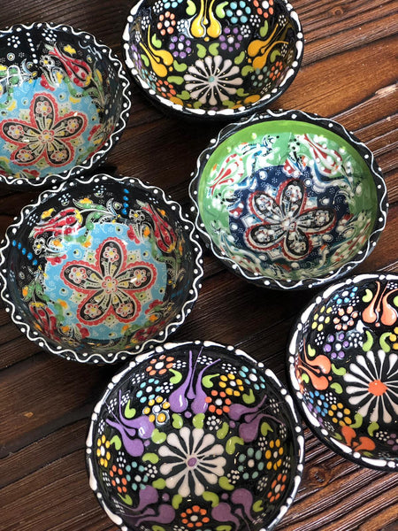 "TURKISH CERAMIC BOWL SET OF SIX, 5 cm (1.9""), 005"