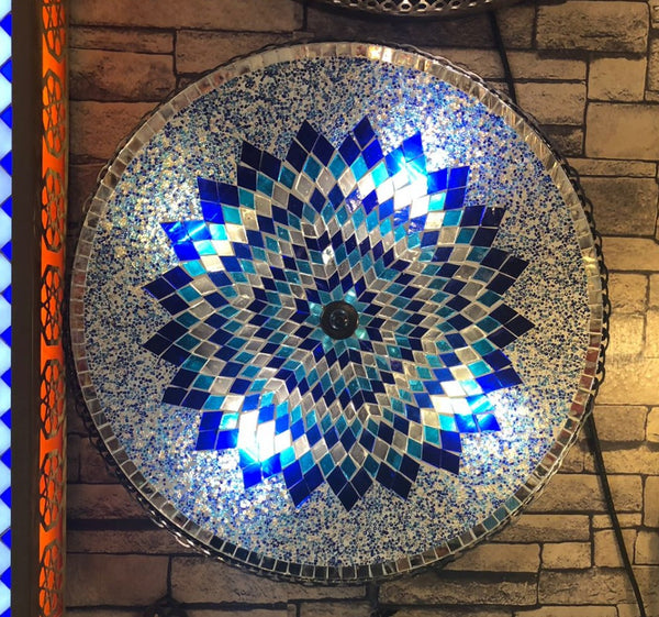 TURKISH MOSAIC FLUSH MOUNT SCONCE, 16 INCH, BLUE