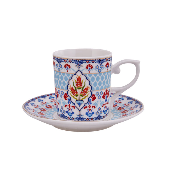 6x PORCELAIN TURKISH COFFEE SET OF SIX, 002