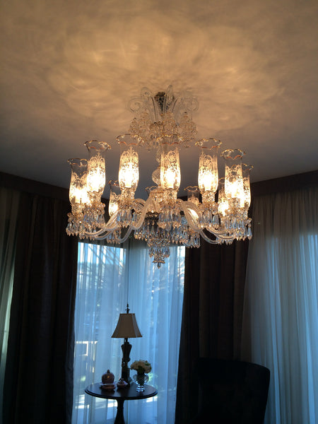 HANDMADE CRYSTAL PALACE CEILING LAMP, 12 LAMPS