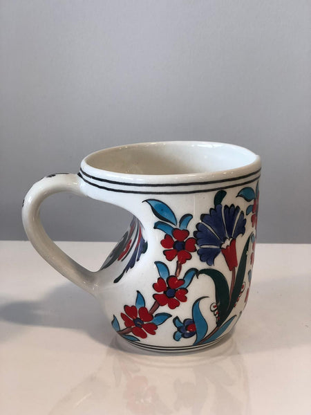 HANDMADE TURKISH CERAMIC COFFEE CUP, IZNIK
