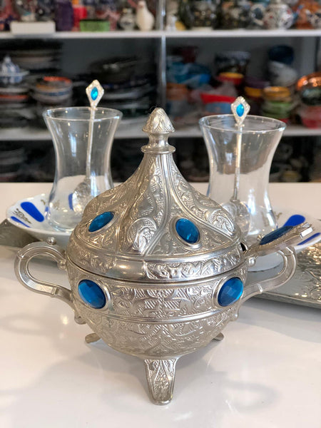 TURKISH TEA SET FOR TWO, SILVER COLOR 002
