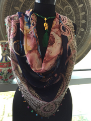 THIN UNIQUE FLORAL SCARF, MULTI-COLOR 58