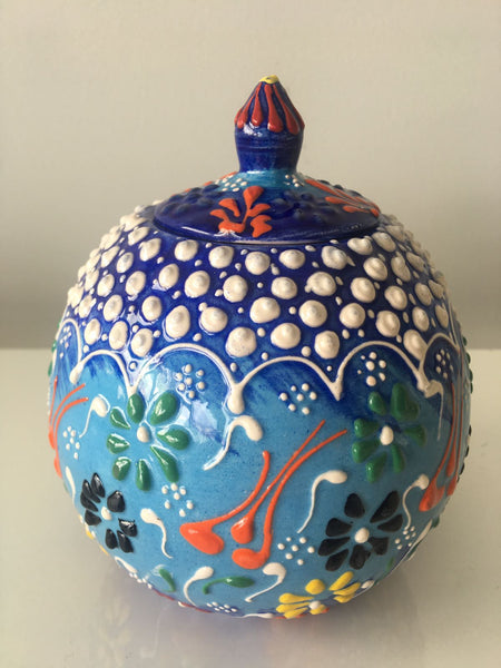 "SMALL ROUND TURKISH CERAMIC SHELF DECOR VASE, 16 cm (6.2""), BLUE"