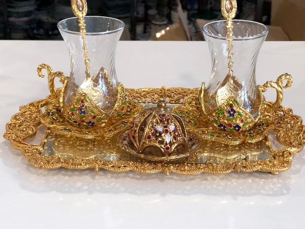TURKISH TEA SET FOR TWO, GOLD COLOR