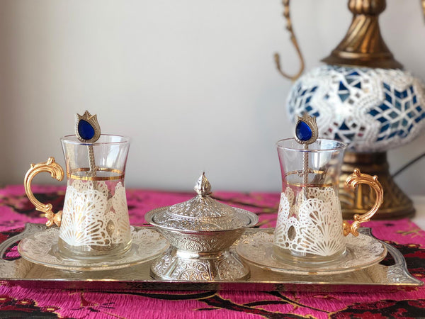 TURKISH TEA SET FOR TWO, WHITE
