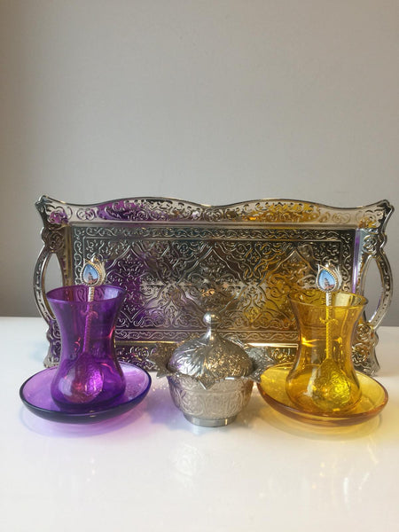 TURKISH TEA SET FOR TWO, SILVER 002