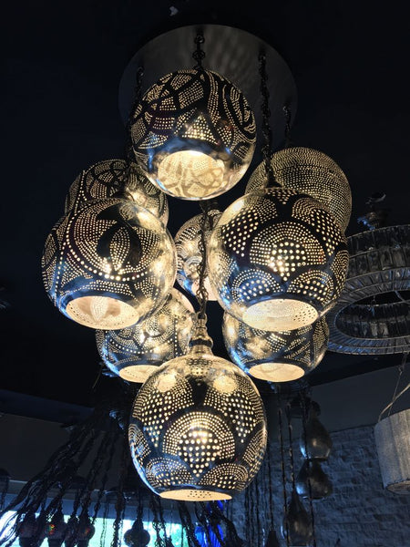 HANDMADE ARTWORK MOROCCAN CHANDELIER , 9 LAMPS