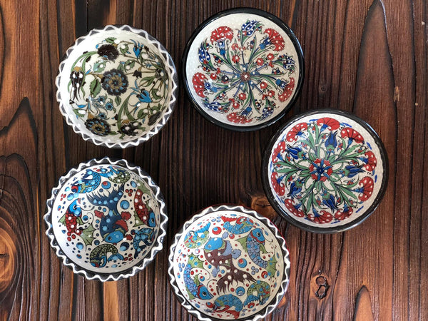 "TURKISH CERAMIC BOWL SET OF FIVE, 5 cm (1.9""), FLORALS 002"